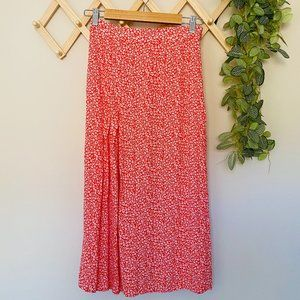 H&M Size 8 Red/Pink Floral Maxi Skirt